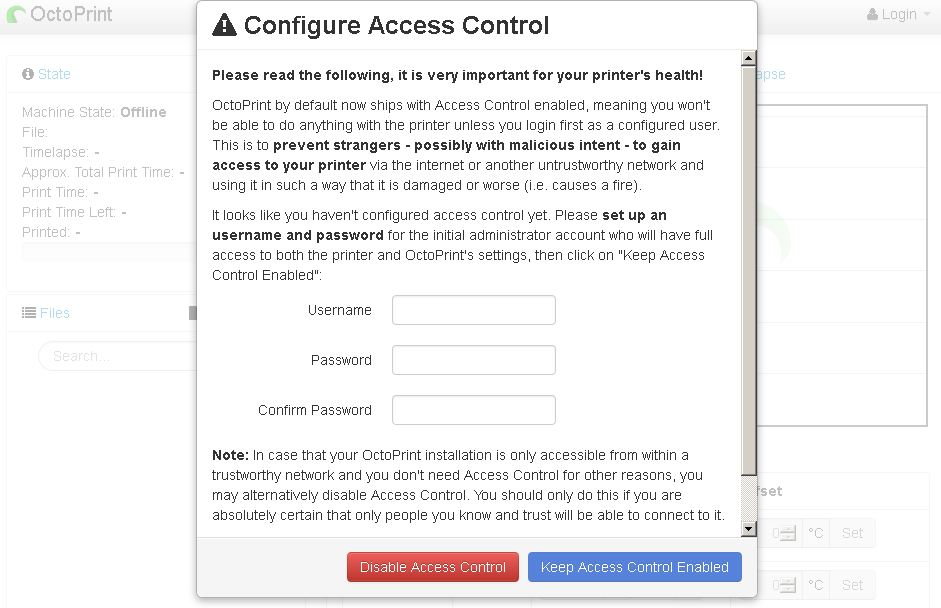 octopi configure access warning